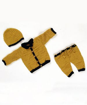 USHA ENTERPRISES Solid Full Sleeves Sweater With Bottoms & Cap - Yellow