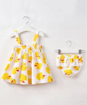 Kookie Kids Sleeveless Frock with Bloomer Duck Print - White Yellow