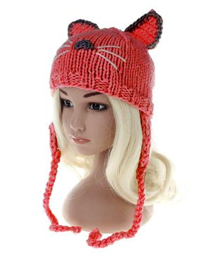 Syga Winter Cap With Knot Kitty Design - Red