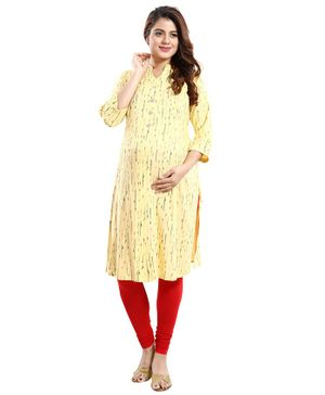 Mamma's Maternity Printed Three Fourth Sleeves Nursing Kurta - Yellow