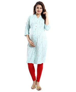 Mamma's Maternity Printed Three Fourth Sleeves Nursing Kurta - Sky Blue