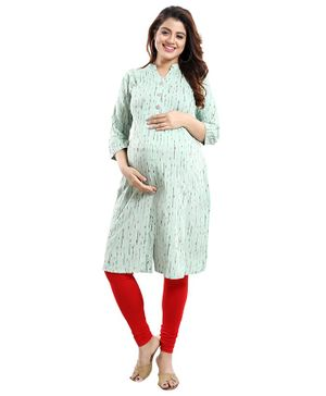 Mamma's Maternity Printed Three Fourth Sleeves Nursing Kurta - Light Green
