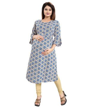 Mamma's Maternity Hexagon Printed Three Fourth Sleeves Nursing Kurta - Blue