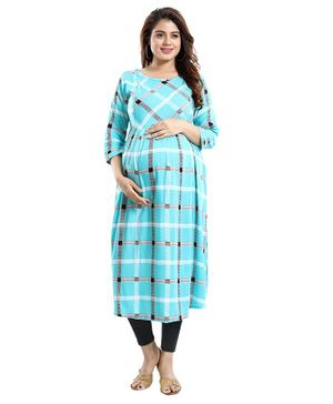 Mamma's Maternity Checkered Three Fourth Sleeves Nursing Kurta - Light Blue