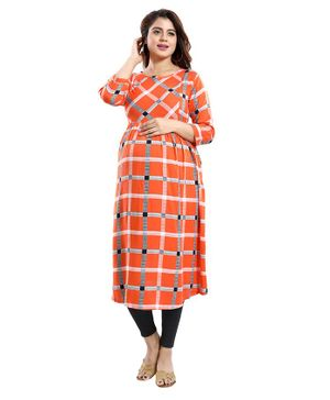Mamma's Maternity Checkered Three Fourth Sleeves Nursing Kurta - Orange