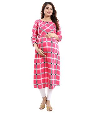 Mamma's Maternity Checkered Three Fourth Sleeves Nursing Kurta - Pink