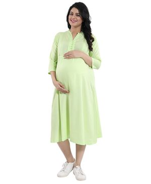 Mamma's Maternity Solid Three Fourth Sleeves Maternity Dress - Light Green