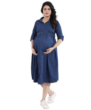Mamma's Maternity Three Fourth Sleeves Button Down Solid Maternity Dress - Dark Blue
