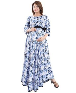 Mamma's Maternity Floral Print Three Fourth Sleeves Maternity Dress - Blue