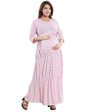 Mamma's Maternity Floral Print Three Fourth Sleeves Maternity Dress - Peach