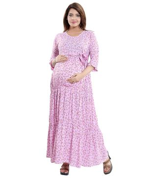 Mamma's Maternity Floral Print Three Fourth Sleeves Maternity Dress - Pink