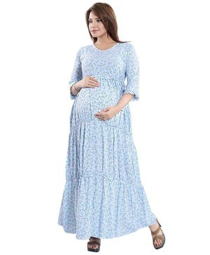 Mamma's Maternity Floral Print Three Fourth Sleeves Maternity Dress - Light Blue