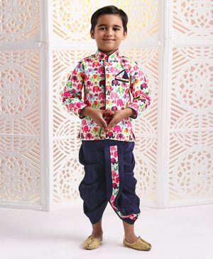 Ridokidz Full Sleeves Elephant Printed Kurta & Dhoti Set - Multi Colour