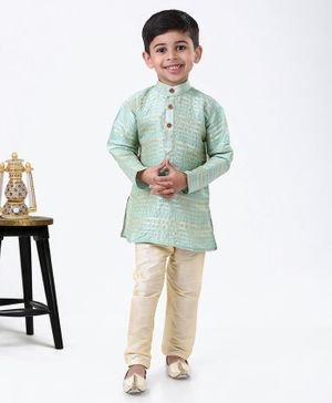 Ridokidz Striped Full Sleeves Kurta & Pyjama - Green