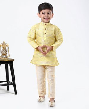Ridokidz Striped Full Sleeves Kurta & Pyjama - Yellow