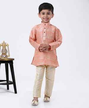 Ridokidz Striped Full Sleeves Kurta & Pyjama - Peach