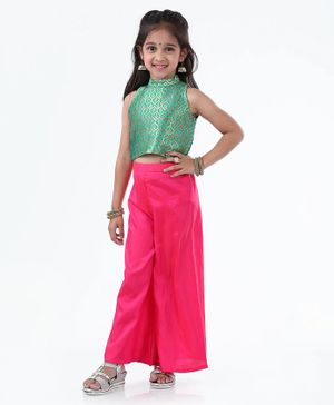 Ridokidz Leaves Design Sleeveless Top With Flared Palazzo - Green