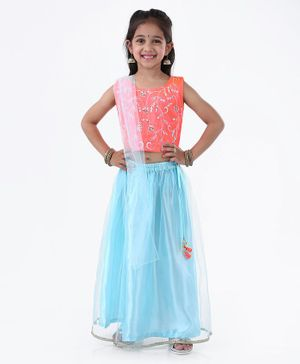 Ridokidz Floral Embroidered Sleeveless Choli With Lehenga & Dupatta - Neon Pink & Blue