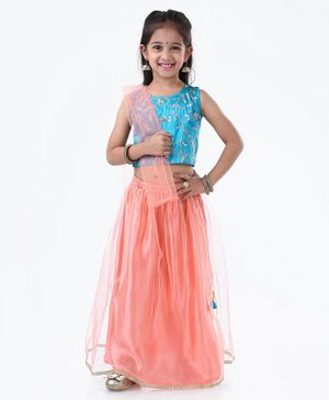 Ridokidz Floral Embroidered Sleeveless Choli With Lehenga & Dupatta - Blue & Pink
