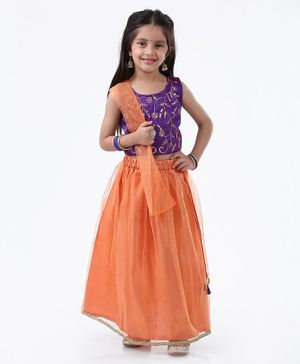 Ridokidz Floral Embroidered Sleeveless Choli With Lehenga & Dupatta - Purple & Orange
