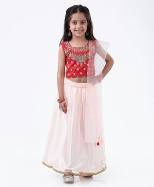 Ridokidz Floral Embroidered Sleeveless Choli With Lehenga & Dupatta - Maroon
