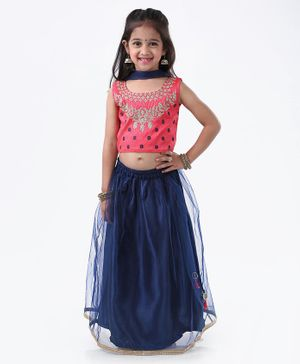 Ridokidz Floral Embroidered Sleeveless Choli With Lehenga & Dupatta - Pink