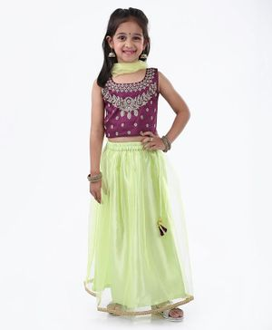Ridokidz Floral Embroidered Sleeveless Choli With Lehenga & Dupatta - Purple