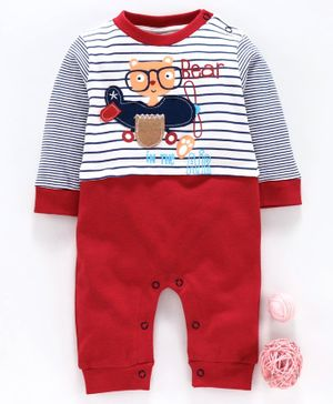 Wonderchild Bear Patch Full Sleeves Romper - Blue & Red