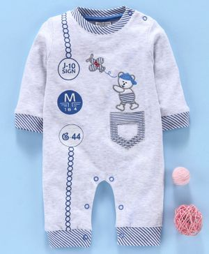Wonderchild Bear Embroidered Full Sleeves Romper - Grey