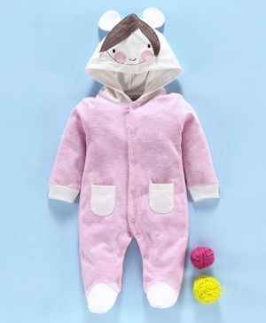 Wonderchild Girl Patch Full Sleeves Footed & Hooded Romper - Baby Pink