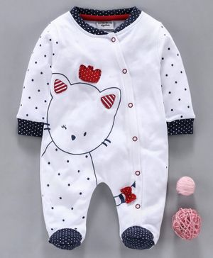 Wonderchild Cat Print Full Sleeves Footed Romper - Light Grey