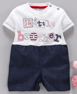 Wonderchild Little Brother Embroidered Half Sleeves Romper - Multi Colour