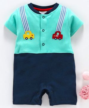 Wonderchild Car Patch Half Sleeves Romper - Light Green & Navy Blue