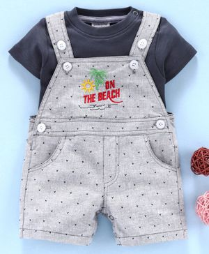 Wonderchild Short Sleeves Solid Tee With On The Beach Patch Dungaree - Grey