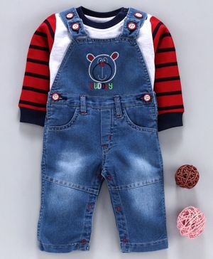 Wonderchild Full Sleeves Tee With Teddy Bear Pattern Dungaree - Blue