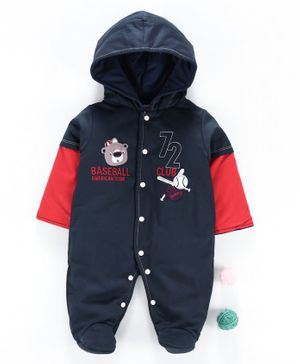 Wonderchild Full Sleeves Bear Patch Hooded Romper - Navy Blue