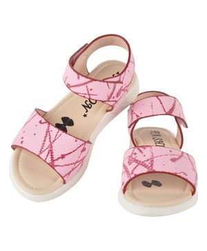 Yellowbee Velcro Closure Sandals  - Pink
