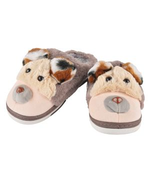 Yellowbee Puppy Plush Slippers  - Brown
