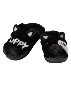 Yellowbee Puppy Mismatch Plush Slippers - Black