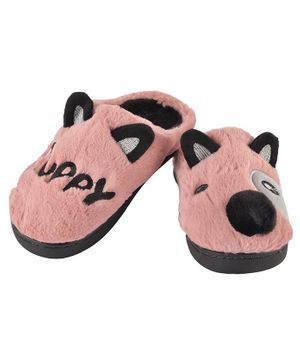 Yellowbee Puppy Pattern Mismatch Plush Slippers - Peach