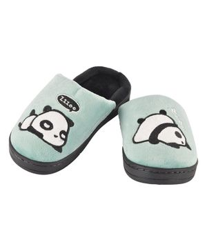 Yellowbee Panda Pattern Mismatch Plush Slippers - Light Green