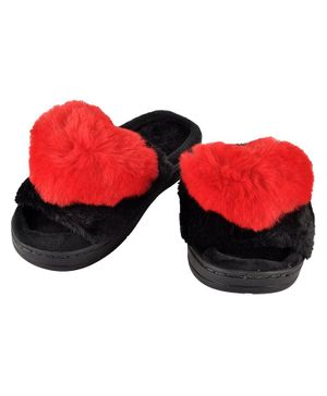 Yellowbee Heart Decorated Plush Slippers - Red