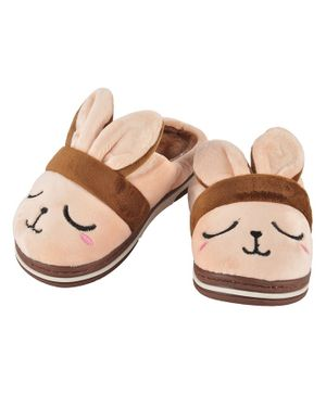 Yellowbee Bunny Face Design Plush Slippers - Beige