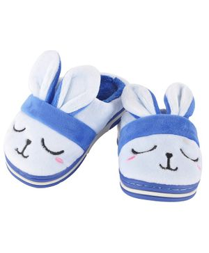 Yellowbee Bunny Face Design Plush Slippers - Blue
