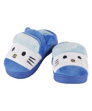 Yellowbee Kitty Face Embroidered Plush Slippers  - Blue