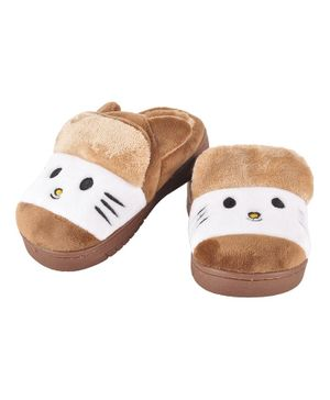 Yellowbee Kitty Face Embroidered Plush Slippers  - Brown