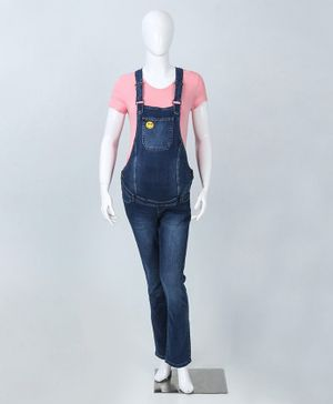 LC Waikiki Full Length Smiley Patch Dungaree - Dark Blue