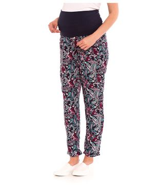 LC Waikiki Printed Full Length Elasticated Trousers - Navy Blue