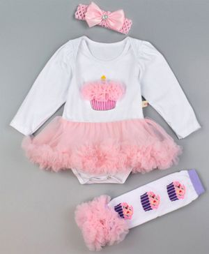 Pre Order - Awabox Cupcake Patch Dress Style Full Sleeves Onesie With Leg Warmer & Headband - White