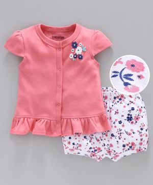 Babyoye Cap Sleeves Cotton Top & Shorts Floral Print - Pink White